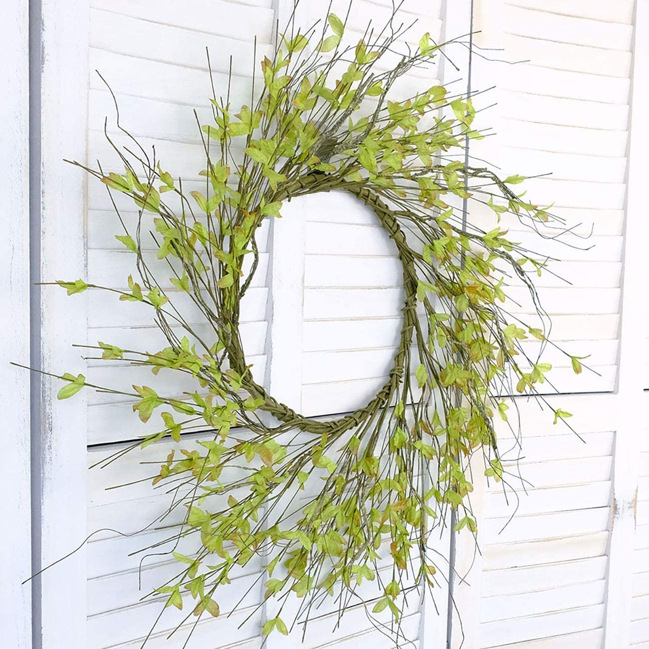 Bibelot 20 inches Handmade Spring Wreath,Rustic Floral Branch Wreath,Farmhouse Wreath for Front Door,Home Decorations (20in)