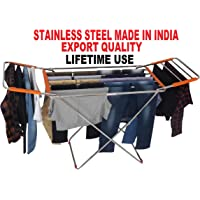VEEN LIFETIME Stainless Steel Foldable Cloth Stand for Drying Clothes | Cloth Drying Stand for Bedroom | Fold-able Space Saver Stand | Make in India