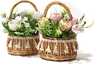 LUEUR Artificial Flowers Hydrangea with Rattan Vase Potted Faux Flowers Floral Arrangement Hanging Potted Plants for Wedding Home Office Decoration Pack of 2 (White & Pink)