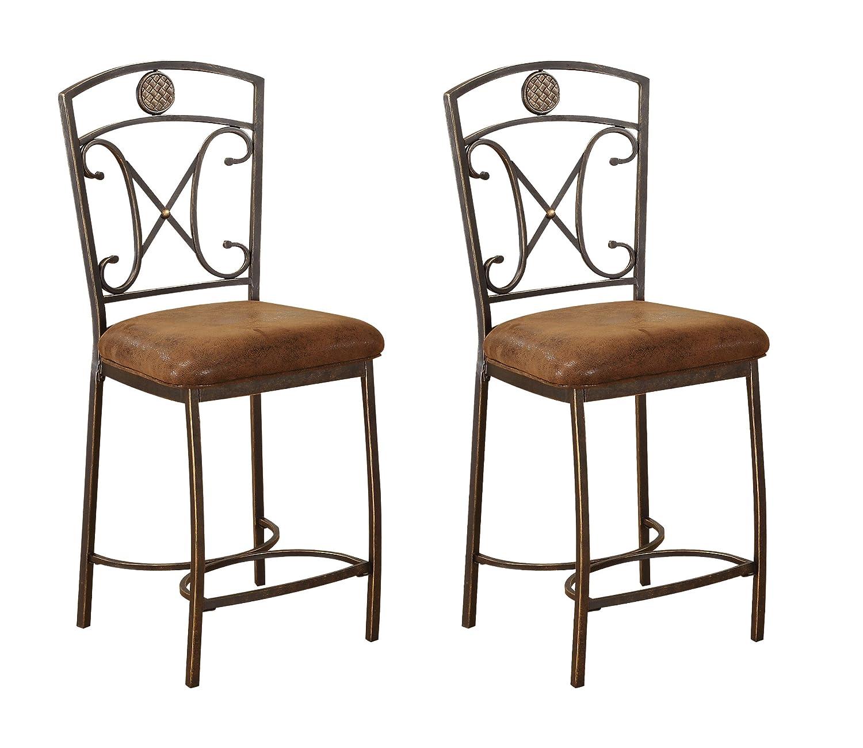 ACME 96061 Set of 2 Tavio Counter Chair, 24-Inch