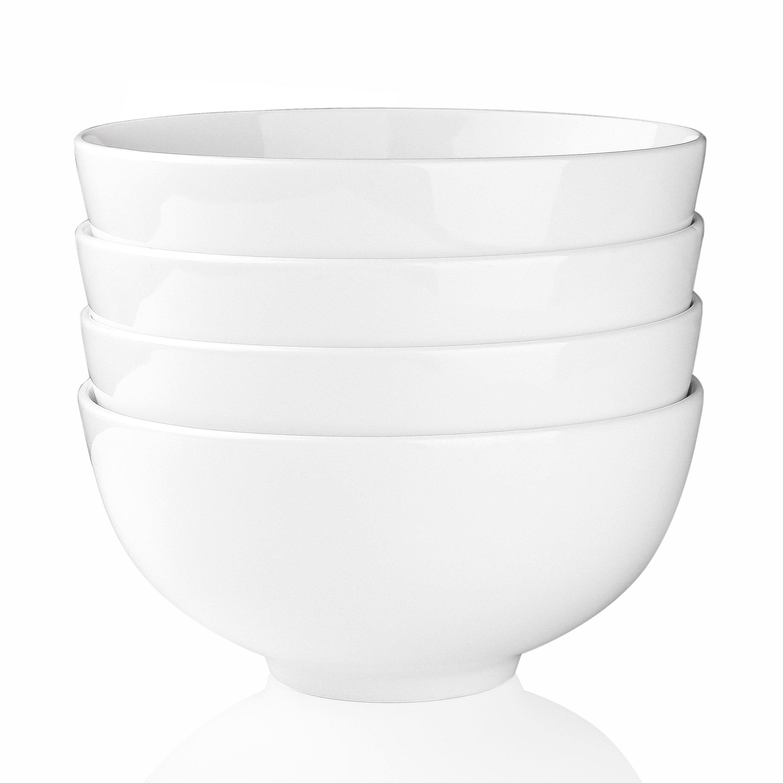 Malacasa, Series Regular, Porcelain 7'' Cereal Soup Rice Bowls, Ivory White 42oz. Snack Dessert Bowls, Set of 16
