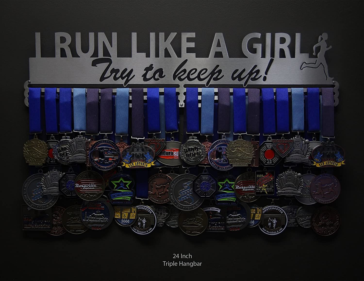 Allied Medal Hangers I Run Like A Girl Try to Keep Up 18 Wide with 3 Hang Bars - Multiple AX-AY-ABHI-102807