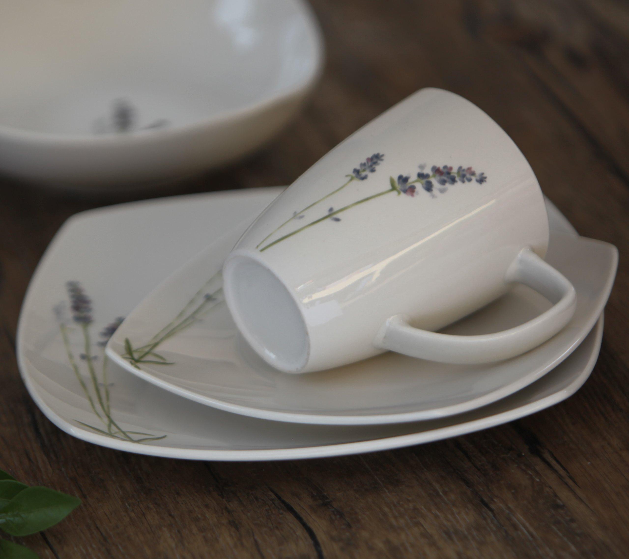 Melange Square 32-Piece Porcelain Dinnerware Set (Lavender) | Service for 8 | Microwave, Dishwasher & Oven Safe | Dinner Plate, Salad Plate, Soup Bowl & Mug (8 Each) by Melange (Image #5)