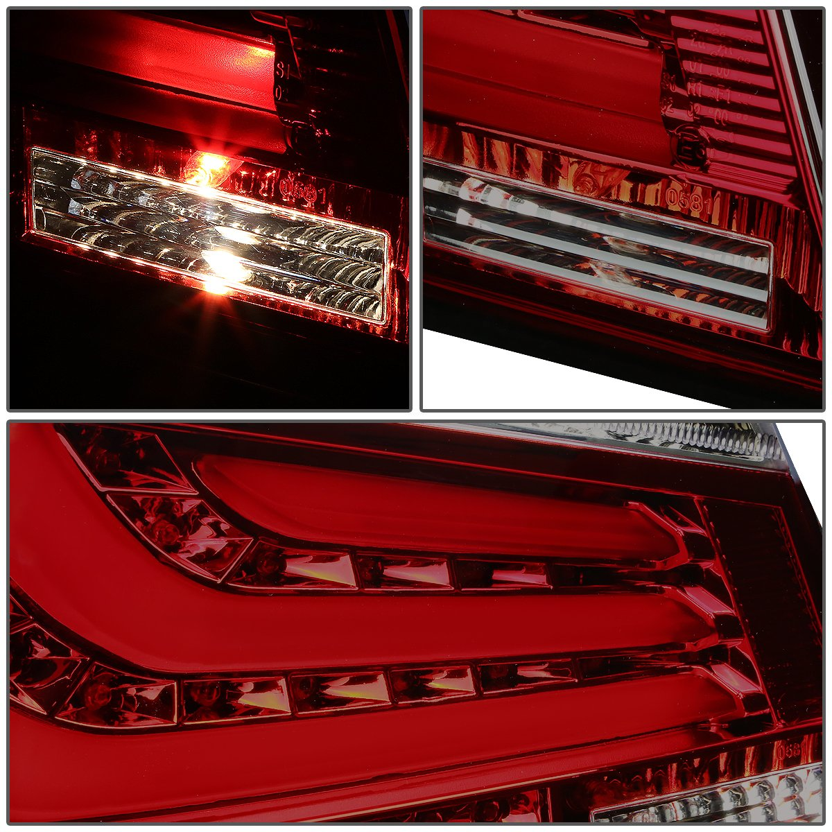 Driver /& Passenger Side DNA Motoring TL-LED-3D-E6008-SM-RD Tail Light