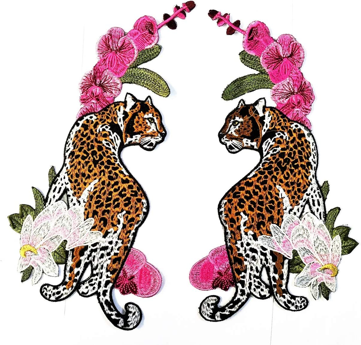 Big Jumbo Leopard Tiger Pink Orchid Flowers Cartoon Patch Embroidered Applique Badge Iron On Sew On Emblem DIY Logo Jacket Vest Shirt T Shirt Embroidery (13)