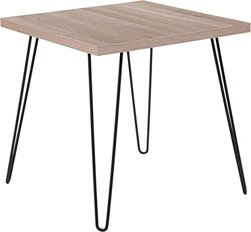 Flash Furniture Union Square Collection Sonoma Oak Wood Grain Finish End Table with Black Metal Legs