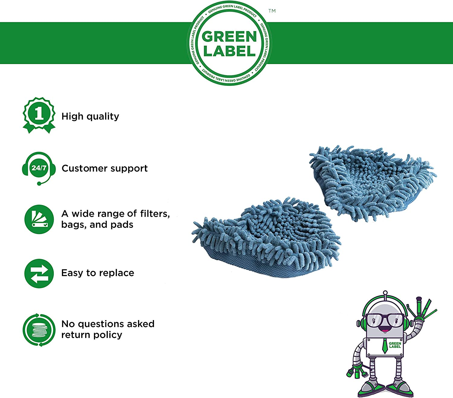 2 Pack Coral Cleaning Pads for Vax Steam Mops (compares to Type 3, 1-1-131643-00). Genuine Green Label Product