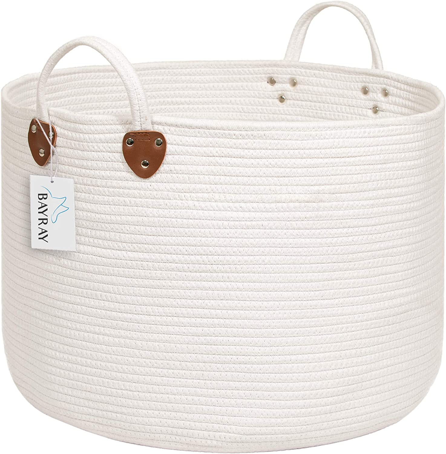 "BAYRAY XXL Woven Cotton Rope Laundry Basket 20"" X 20"" X 13.3"" Off White Basket Woven Laundry Basket Baby Nursery Hamper Collapsible Organizer Decorative Storage Basket for Toys, Blankets, Pillows"