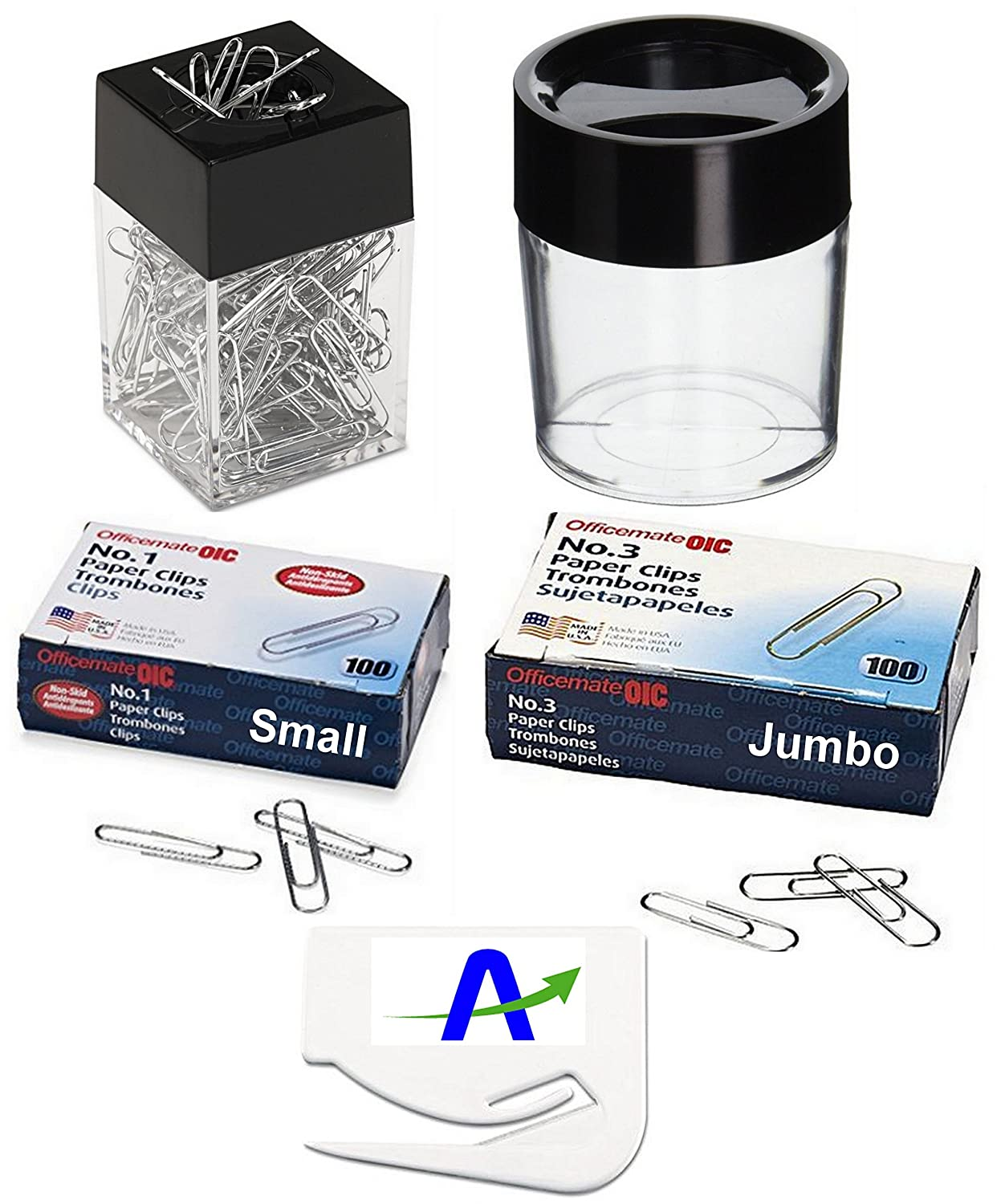 Value Bundle OIC Small and Jumbo Non-Skid Paper Clips and 2 Magnetic Dispensers, 1 each of Small and Large Plus a Custom AOP Letter Opener OfficeMate