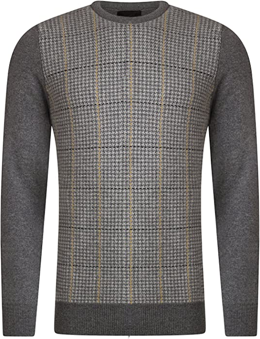 Mens Great /& British Knitwear 100/% Lambswool Tartan Crew Neck Jumper