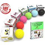 Professional Massage Balls, Lacrosse Ball Set or Spiky Roller, BEST Foot Massager, Acupressure, Deep Tissue Trigger Point, Plantar Fasciitis, Reflexology, Stress Therapy & Myofascial Release, E-Guide