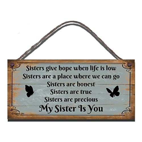 Funny Sign Birthday Occasion Shabby Chic Wooden Wall Plaque Gift Present Sisters Give Hope When Life