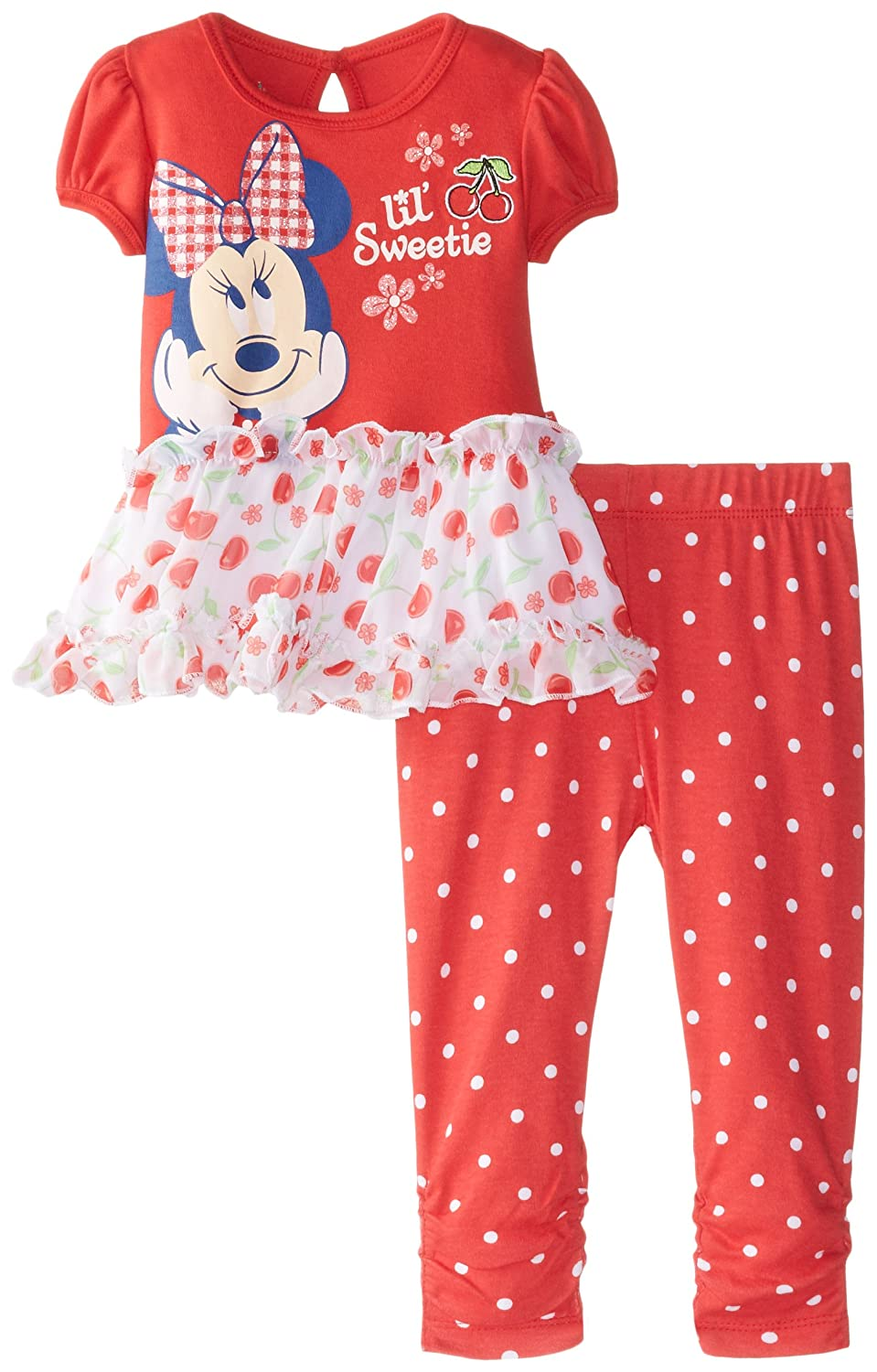 Disney Baby Girls' Minnie Mouse Flower Legging Set with Peplum Top