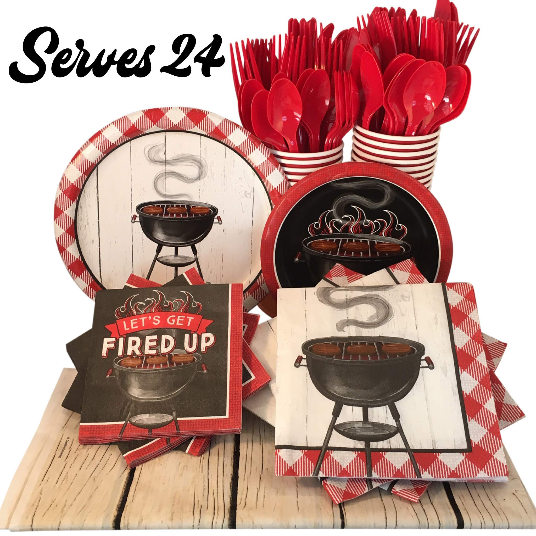 Backyard BBQ Paper Plates and Napkins with Cups, Utensils and Tablecloth - Picnic Party Supplies with Shiplap and Gingham Grill Design (Serves 24)