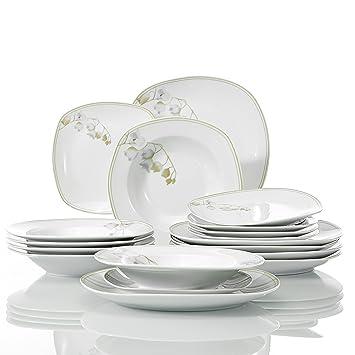 Veweet EMILY 18pcs Assiettes Pocelaine Service de Table 6pcs Assiettes  Plates 24,7cm, 6pcs e327f66fac1c