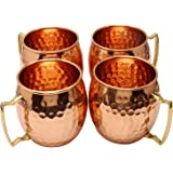 Zap Impex ® Pure Copper Hammered Moscow Mule Mug With Solid Brass Handle Set Of 4- 16 Ounce