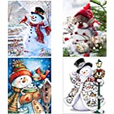 SanerDirect 4 Pack 5d DIY Snowman Diamond Painting Kits, Full Drill Paint with Diamonds Christmas Kits 12x16 inches