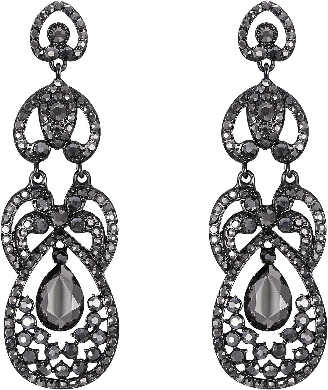 Boucles d`Oreilles Art Deco Goutte Ovale Noir Original Soirée Mariage BB 3