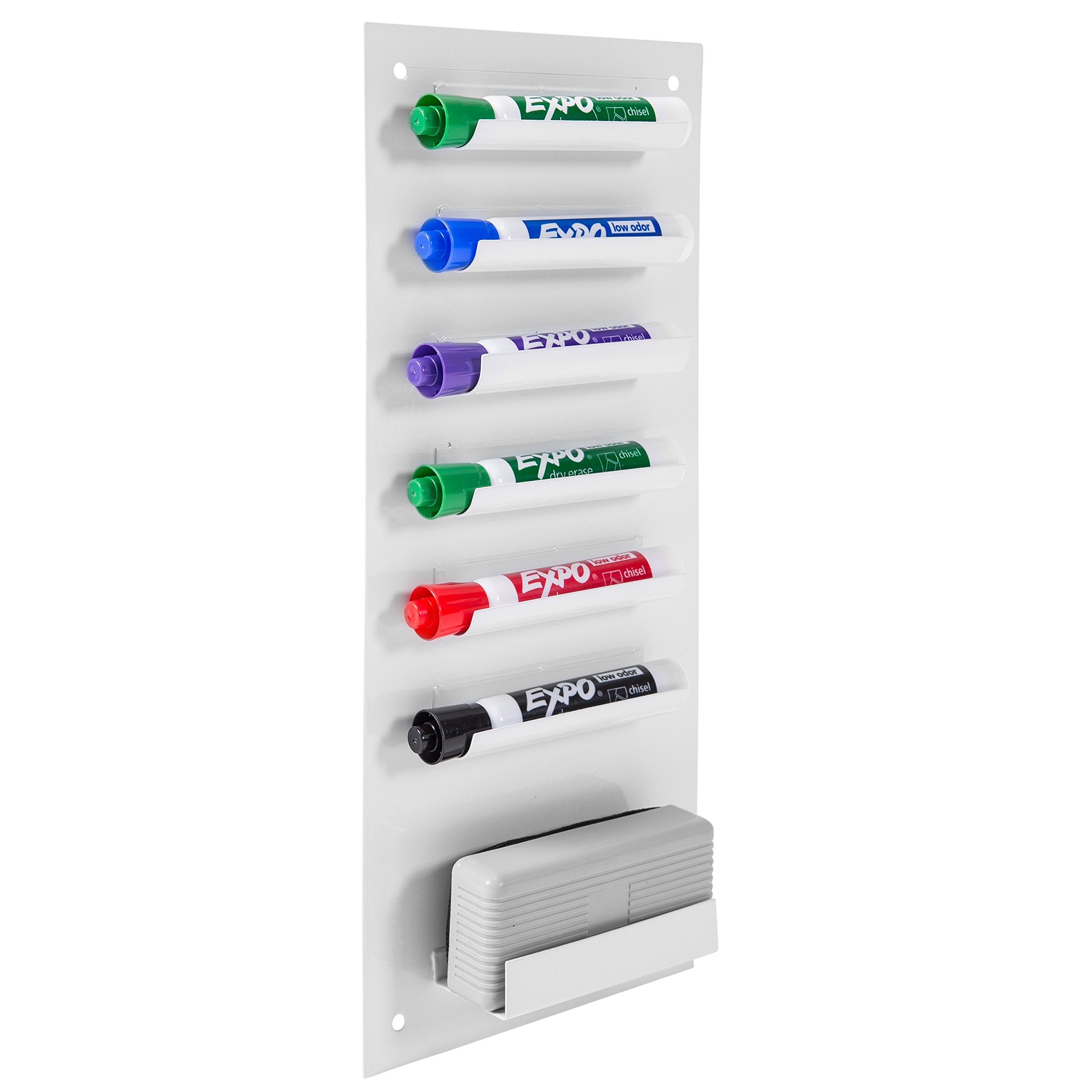6-Slot Wall Mounted Metal Dry Erase Marker and Eraser Holder/Vertical Storage System, White