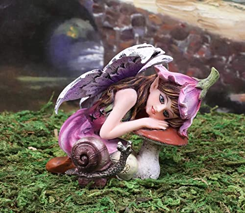 Ebros Gift Enchanted Pink Lily Fairy with Toadstool Mushroom and Snail Figurine 3.25 H Faerie Garden Miniature Do It Yourself Ideas for Your Home Enchanted Pixie Nymph Collectible
