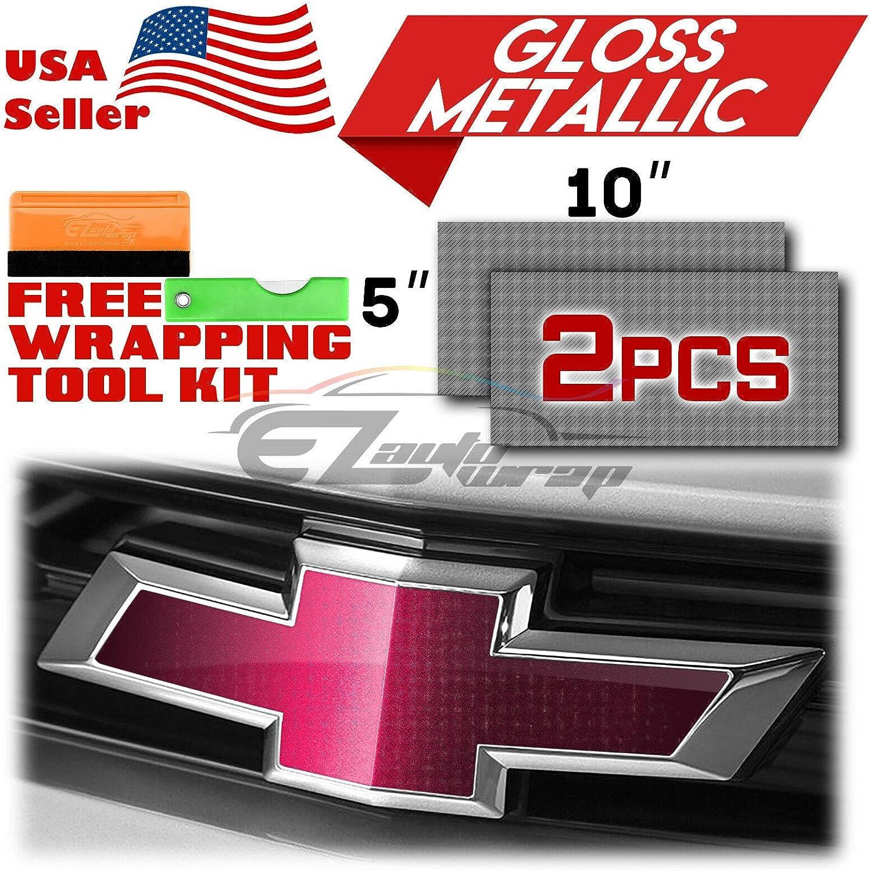 EZAUTOWRAP Free Tool Kit 2Pcs 5x10 Chevy Emblem Bowtie Gloss Metallic Champagne Gold Vinyl Wrap Sticker Decal Film Overlay Sheet