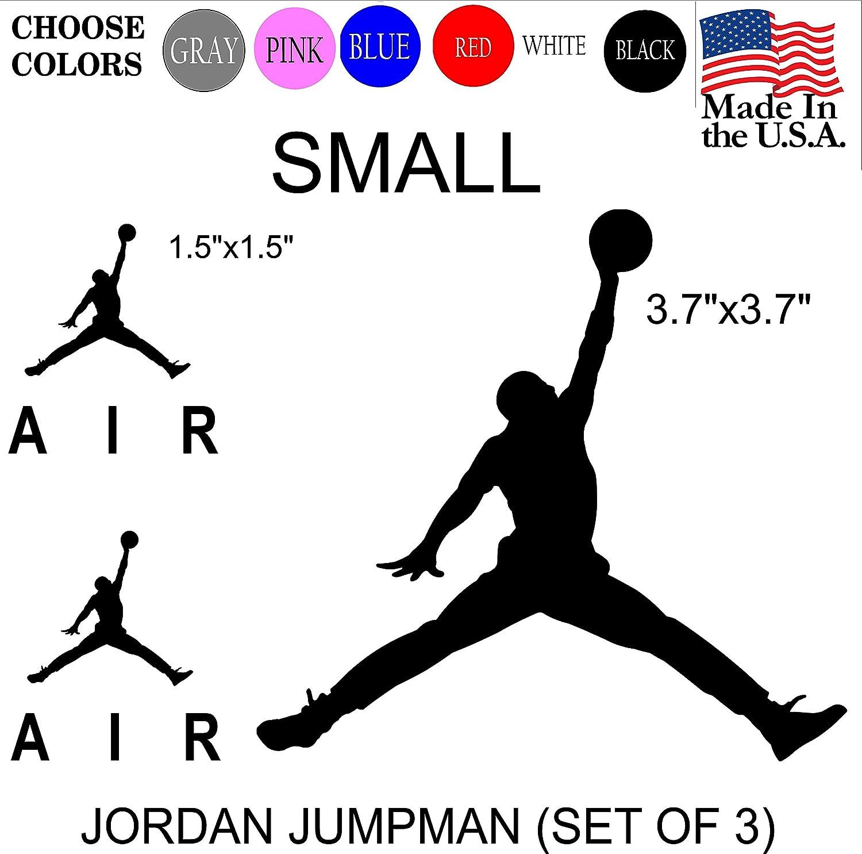 Set NBA Jordan 23 AIR Jumpman Logo Huge Flight Vinyl Decal Sticker - Car Window, Laptop, Wall, Mac (Small,White)
