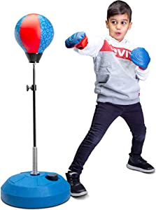 Tech Tools Punching Bag for Kids, Boxing Set with Stand, Kids Boxing Gloves Included - Height Adjustable - Great Exercise & Fun Activity for Kids