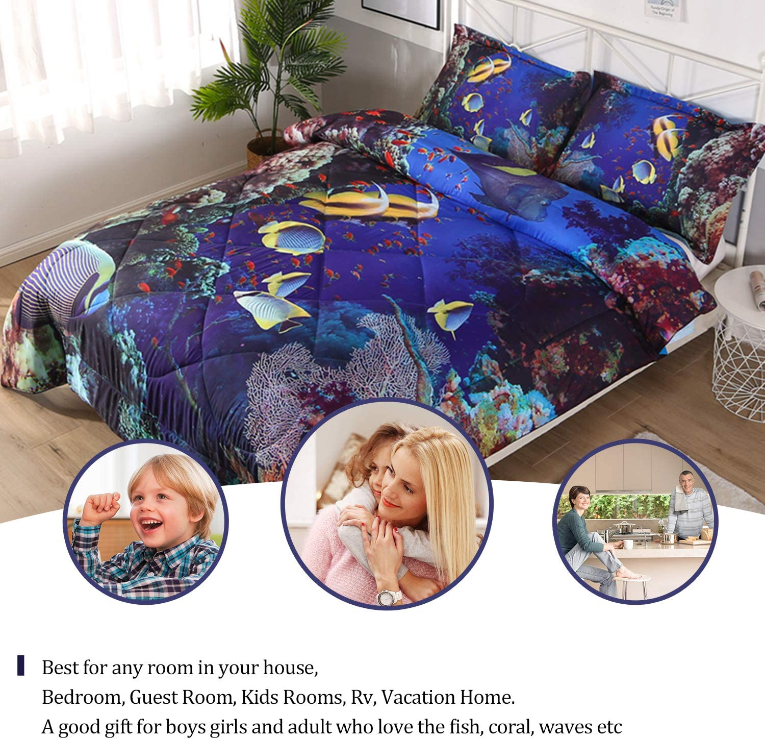 3D Blue Sea Tortoise Printed Comforter with Pillowcases for Children Qucover Twin Size Comforter Bedding Sets