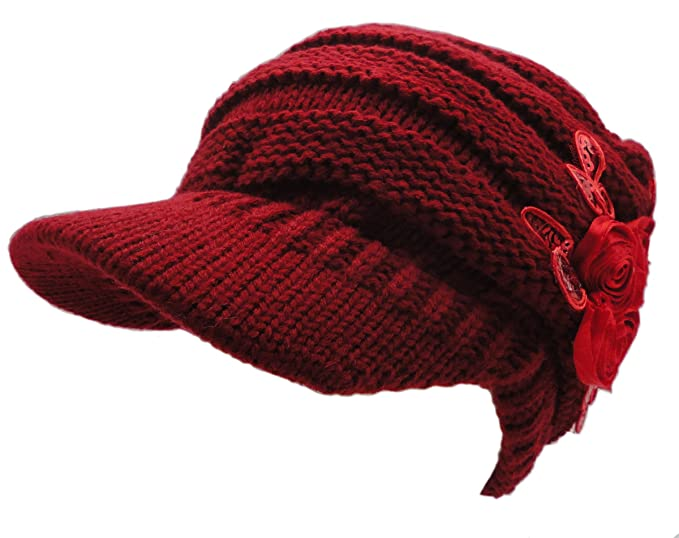 5e4a3df6ef0 Newsboy Floral Cable Knitted Hat with Visor Bill Winter Warm Hat for Women  (Red)
