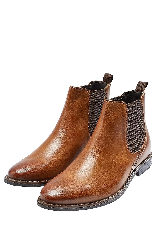 next Hombre Botines Chelsea Perforaciones Corte Regular Bronceado EU 40: Amazon.es: Zapatos y complementos