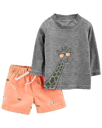 0c5c862031 Carter's Baby Boy's Giraffe Long Sleeve Rashguard and Trunks Swim Bathing Suit  Set 50+ UPF