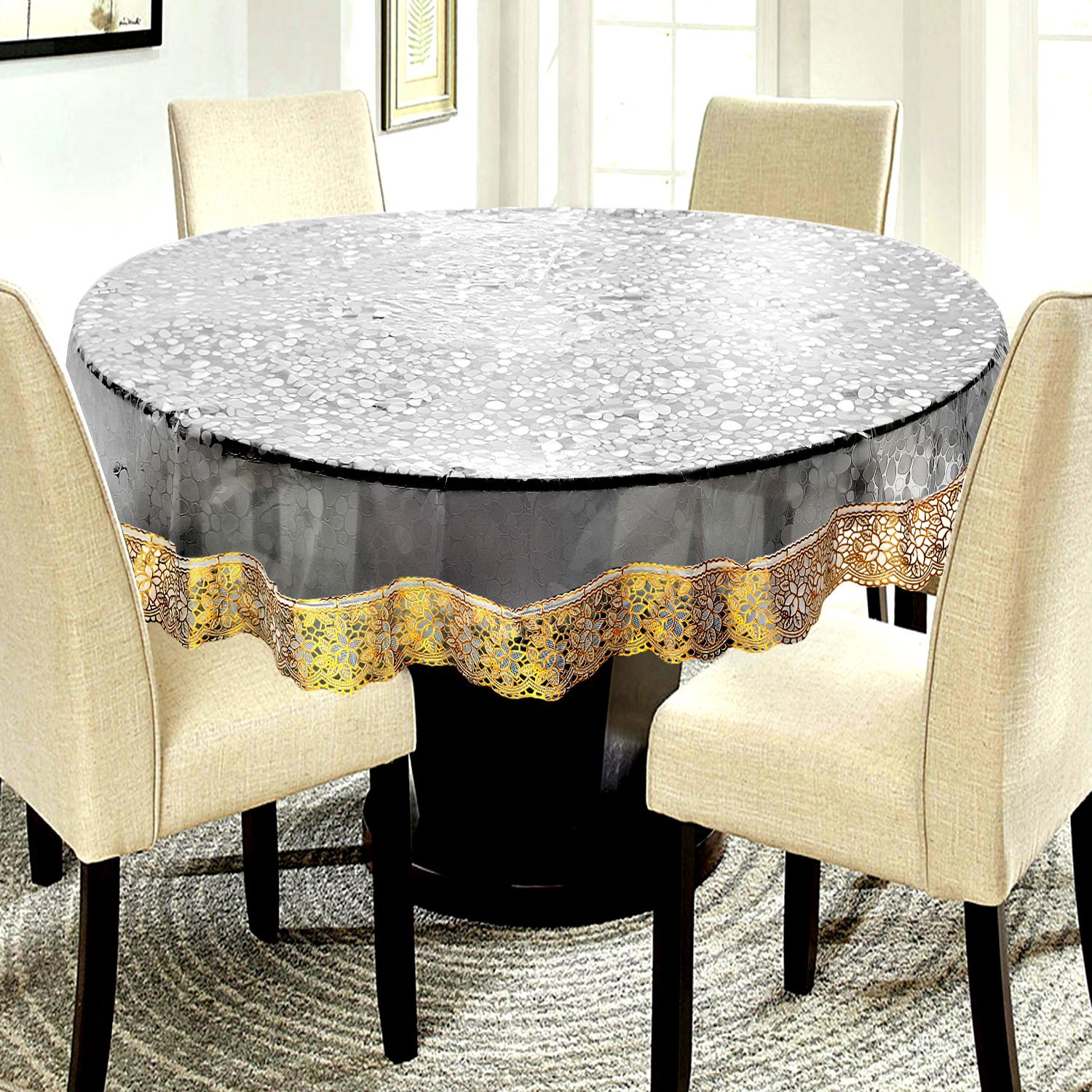 save off a74c8 6936f E-Retailer PVC Waterproof 6 Seater Round Table Cover with Golden Lace Coin  Design Pattern - 72-inch