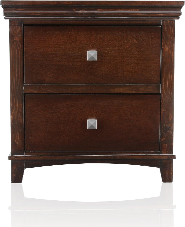 Furniture of America Pasha 2-Drawer Nightstand, Brown Cherry Finish