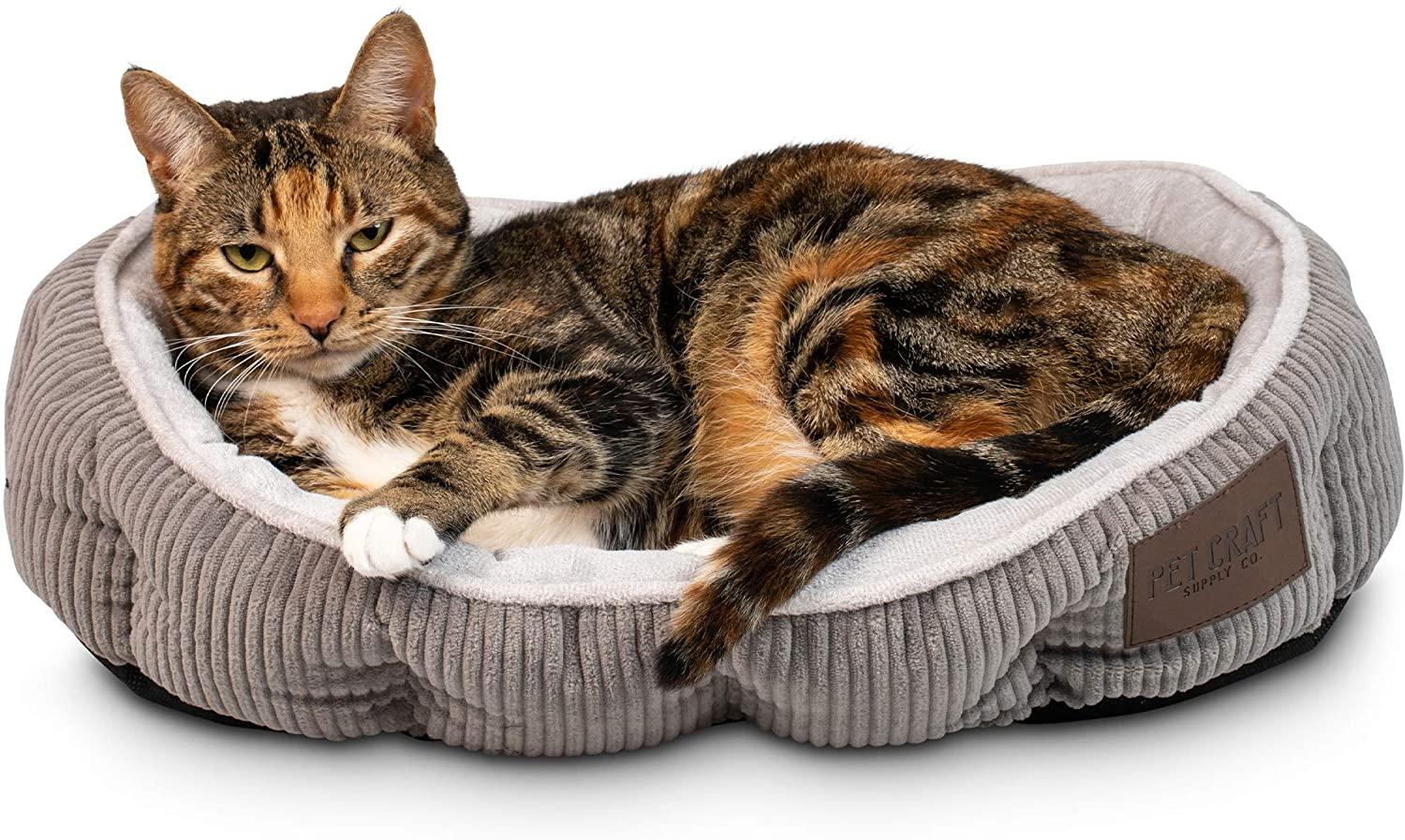 Pet Craft Supply Simple Sleeper Self Warming Cute Calming Cat Bed With Ultra Soft Luxury Plush Including Refillable Catnip Pouch Perfect For Indoor Cats Pet Supplies