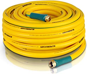 "SuperHandy Garden Water Hose 5/8"" Inch x 100' Feet Heavy Duty Premium Commercial Ultra Flex Hybrid Polymer Hose Max Pressure 150 PSI/10 BAR with 3/4"" GHT Fittings"
