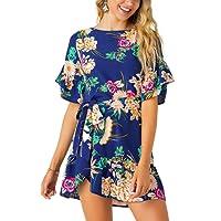 YOINS Damen Sommerkleid Minikleid Partykleid Rundhals Blumenmuster A Linie Hohe Taillen Kurzarm Kleid mit Gürtel Strandmode