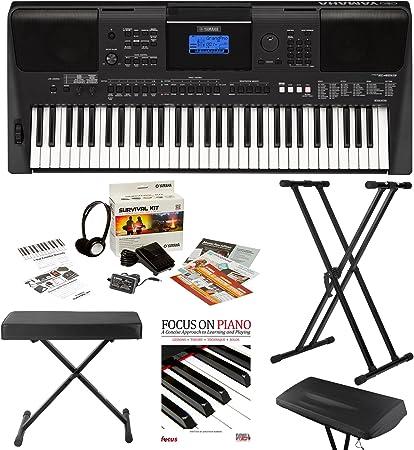 Yamaha PSRE453 - Teclado portátil con 61 teclas de respuesta táctil con potentes altavoces en color negro con soporte, banco, kit de supervivencia, ...