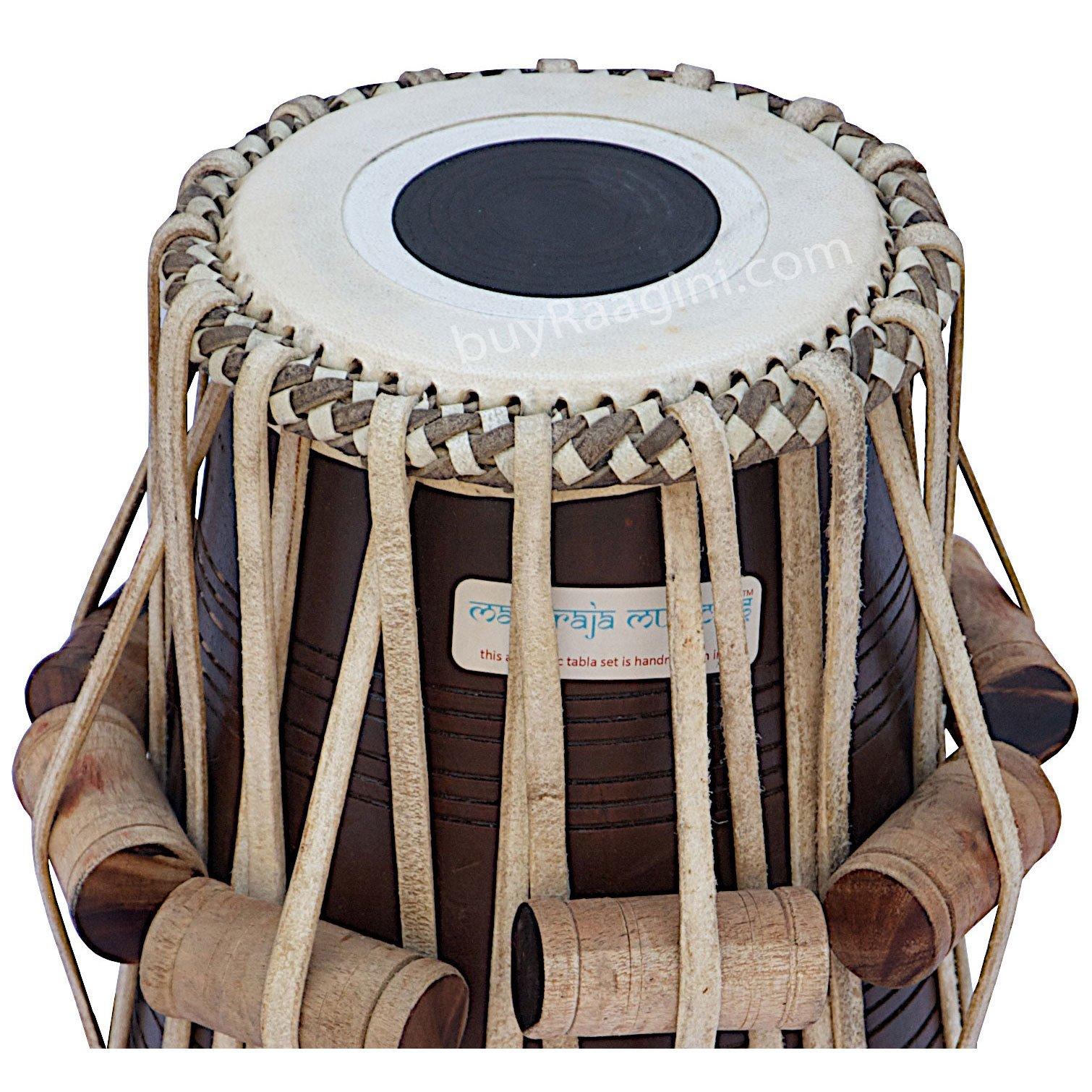 Tabla Set, Maharaja Musicals, 3.5 Kg Designer Golden Brass Bayan, Sheesham Tabla Dayan, Professional Drums, Padded Bag, Book, Hammer, Cushions, Cover, Tabla Drums Indian (PDI-FG) by Maharaja Musicals (Image #7)