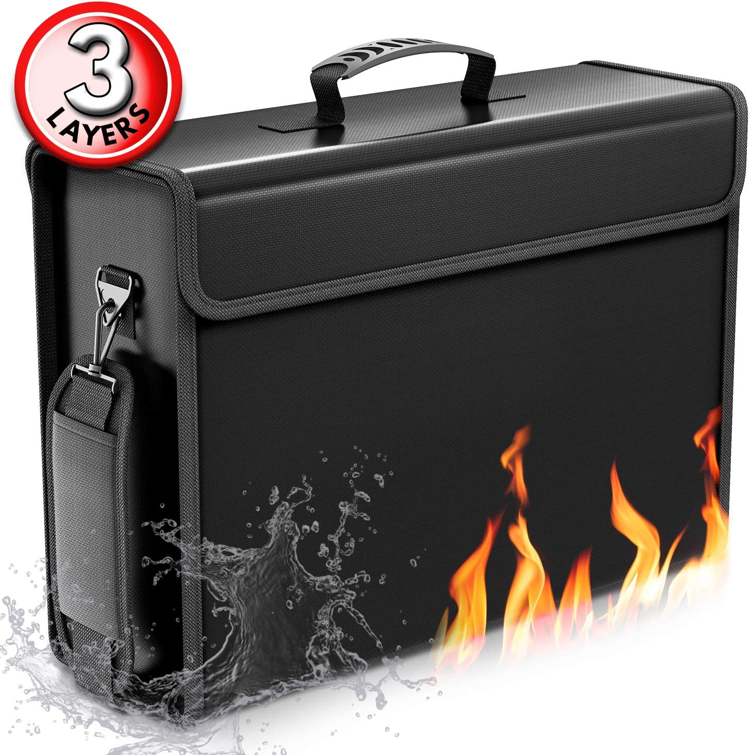 """SafeHaven 17""""x12""""x5.5"""" Fireproof Document Bags up to 2100F - X Large & Durable Protected w/Zipper and Strong Velcro Fireproof Bag - Easy to Store and Carry Document Holder - Fireproof Money Bag"""