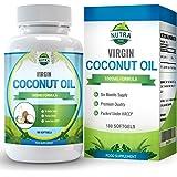 Cápsulas de Aceite de Coco Virgen, aceite de TCM con grandes beneficios. Ácidos grasos esenciales para perder peso de forma natural, 1000mg, doble de cápsulas con 180 unidades