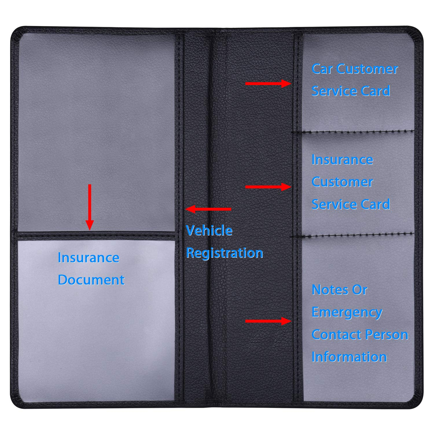 Insurance Paperwork Drivers License Black Car Registration Holder Wisdompro Premium PU Leather Vehicle Glove Box Documents Wallet Case Organizer for ID Key Contact Information Cards