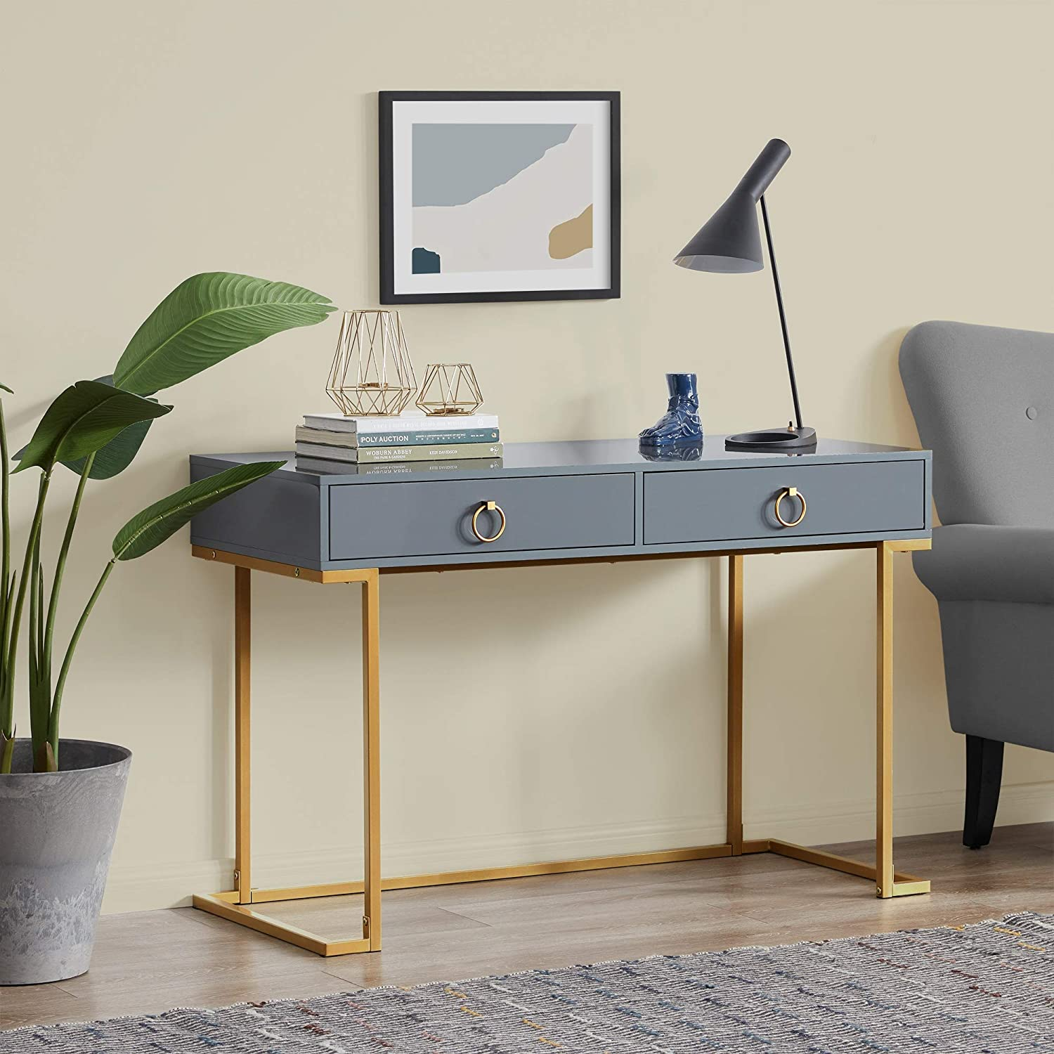 BELLEZE Home Office Two-Drawers Computer Desk Vanity Table, Wood and Metal, Gray and Gold