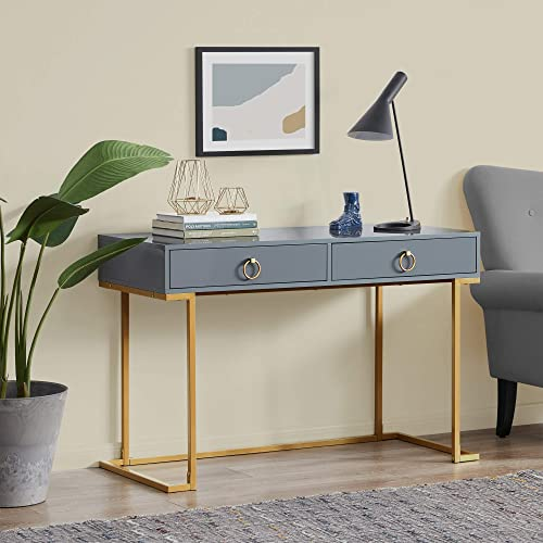 BELLEZE Home Office Two-Drawers Computer Desk Vanity Table