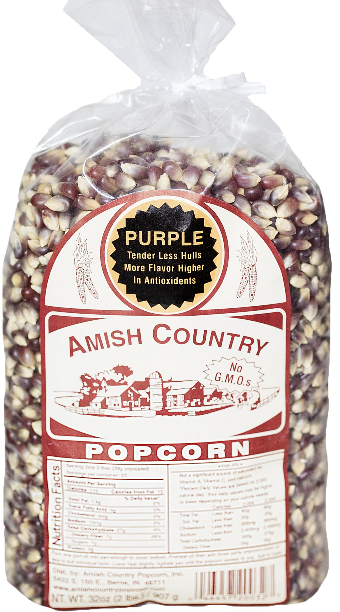 Amish Country Popcorn - Purple Kernels (2 Pound Bag) with Recipe Guide - Old Fashioned, Non GMO, Gluten Free, Microwaveable, Stovetop and Air Popper Friendly by Amish Country Popcorn