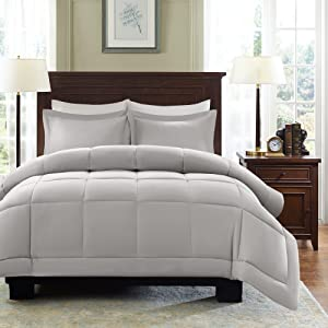 Madison Park Sarasota All Season Microcell Down Alternative Box Quilted Comforter Mini Set, Full/Queen, Grey