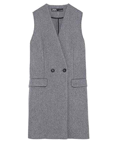 a4d41169 Zara Women's Waistcoat with Pockets 2279/666 Grey: Amazon.co.uk ...