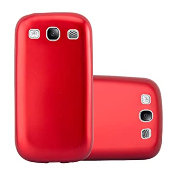 Cadorabo Funda para Samsung Galaxy S3 / S3 Neo en Metallic Rojo – Cubierta Proteccíon de Silicona TPU Delgada e Flexible con Antichoque – Gel Case ...