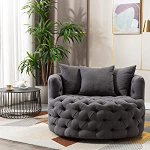 Pannow Modern Akili Swivel Accent Sofa Barrel Chair, Lounge Swivel Barrel Chair 42.9 Inch Linen 360°Swivel for Hotel Living Room/Modern Leisure Chair