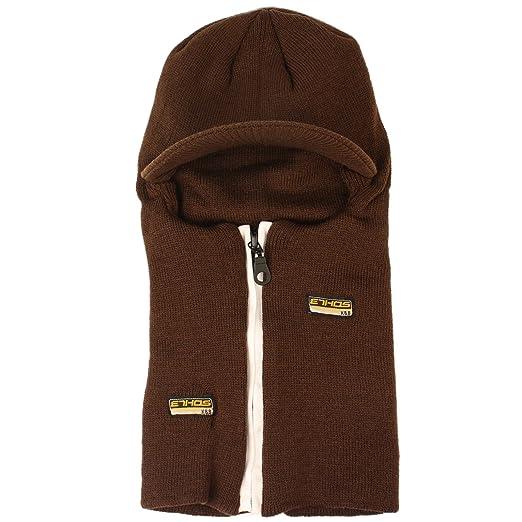 5998b6f36b8 Winter 2 in 1 Beanie Visor Skull Cap Hat Ski Snow Board Zipper Face Mask  Brown