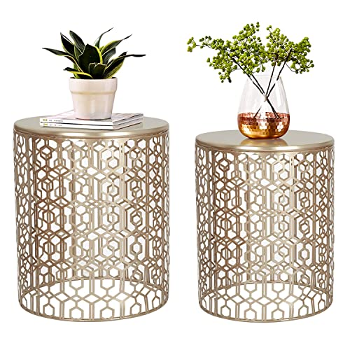 Joveco End Tables Set of 2 Coffee Table Decorative Nesting Round Gold Nightstands Gold